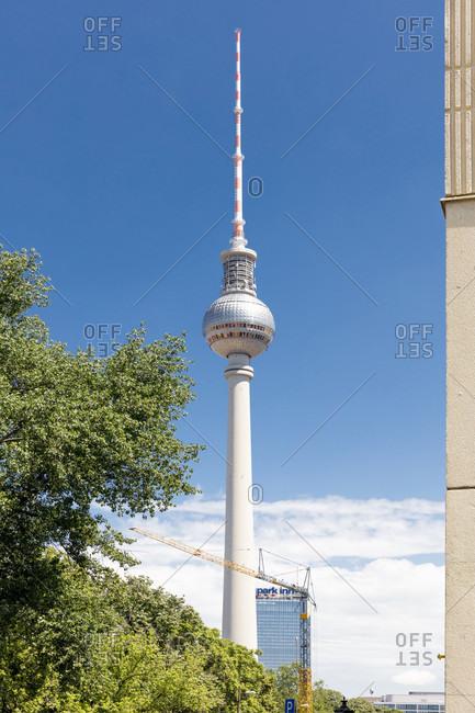 June 13, 2019: Radio tower, hotel, Park Inn, Radisson, Nikolaiviertel, summer, Berlin's historic center, Berlin, Germany