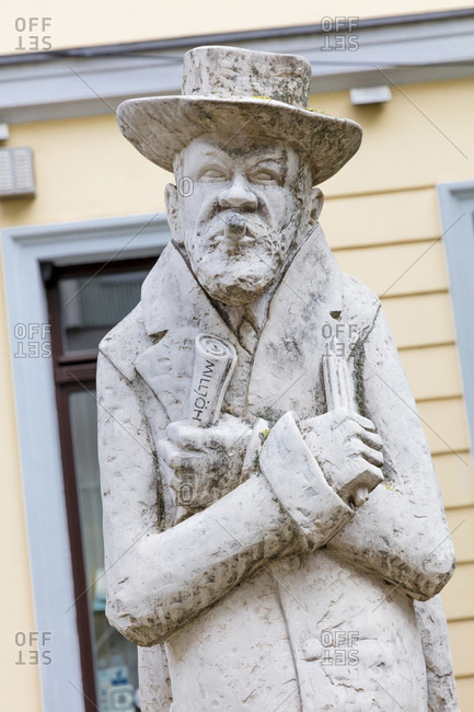 June 13, 2019: Heinrich Zille, monument, Nikolaiviertel, Berlin Mitte, Berlin, Germany