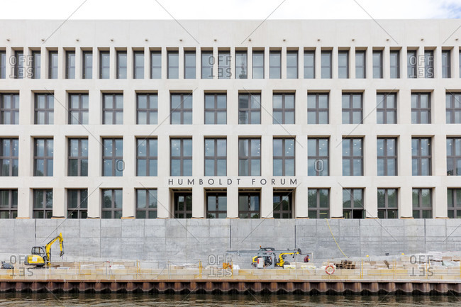 June 13, 2019: Humboldt Forum, Museum Island, facade, river, Spree, construction site, Mitte, Berlin, Germany
