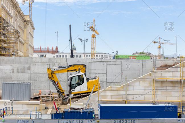 June 13, 2019: Humboldt Forum, Museum Island, facade, construction site, Mitte, Berlin, Germany