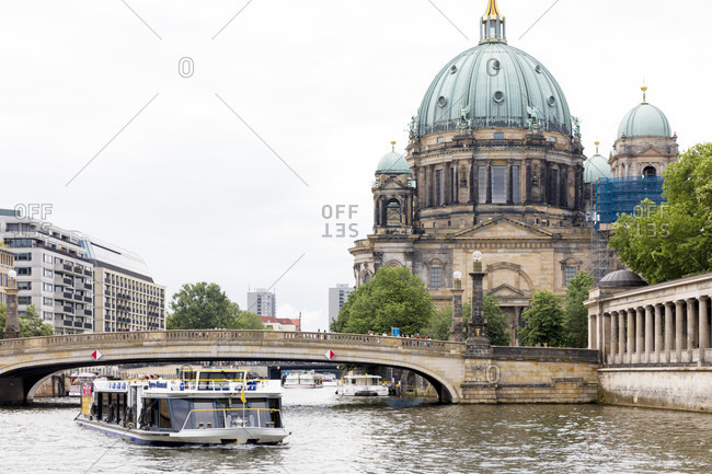 June 13, 2019: Excursion boat on the Spree at the Bodemuseum, Museum Island, UNESCO World Heritage Site, Mitte, Berlin, Germany