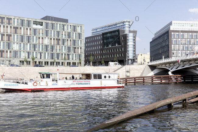June 12, 2019: Kronprinzen bridge, Calatrava bridge, river, Spree, shipping, Berlin, Germany