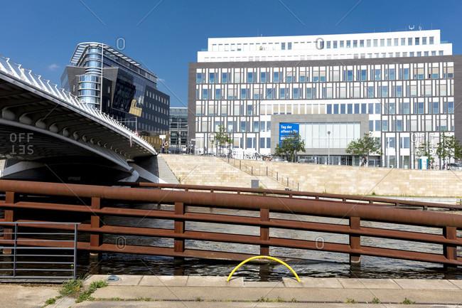 June 12, 2019: Kronprinzen Bridge, Calatrava Bridge, River Spree, Berlin, Germany