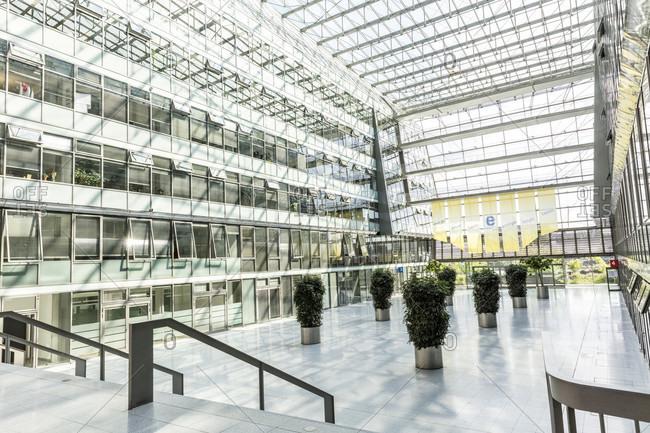 June 17, 2019: Energie Forum, atrium, interior design, Friedrichshain, Berlin, Germany