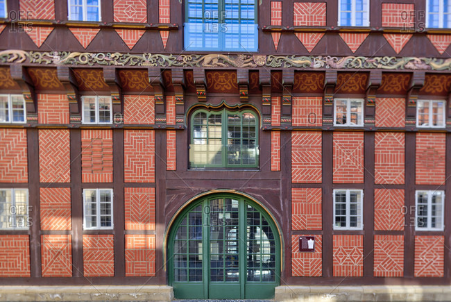 July 7, 2018: Alte Waage, Wollmarkt, Weichbild Neustadt, house facade, Braunschweig, Lower Saxony, Germany, Europe