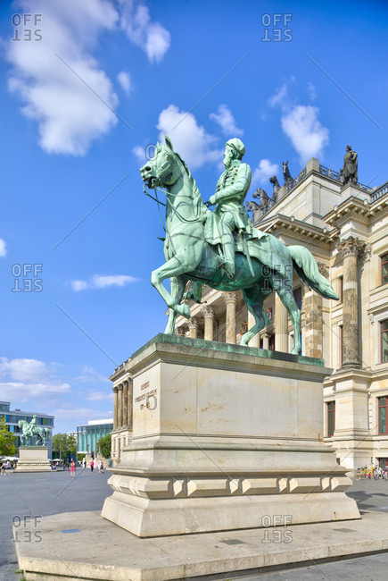 July 23, 2018: Equestrian statue, Residenzschloss, Braunschweig, Lower Saxony, Germany, Europe