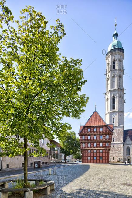 July 19, 2018: Alte Waage, Wollmarkt, Weichbild Neustadt, Andreaskirche, Braunschweig, Lower Saxony, Germany, Europe