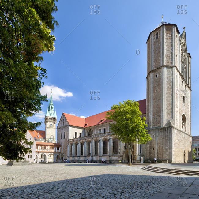 Dankwarderode Castle, Domplatz, Braunschweiger Lowe, Town Hall Tower, Dom, Braunschweig, Lower Saxony, Germany, Europe