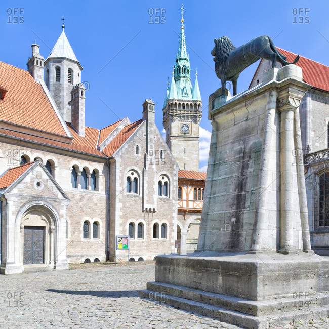 July 19, 2018: Dankwarderode Castle, Domplatz, Braunschweiger Lowe, Town Hall Tower, Dom, Braunschweig, Lower Saxony, Germany, Europe