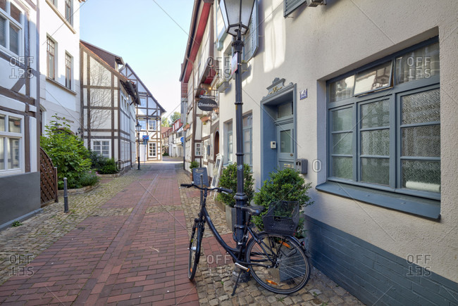July 16, 2018: House facade, old town, half-timbering, alley, Romance, Cobblestone, Hameln, Lower Saxony, Germany, Europe