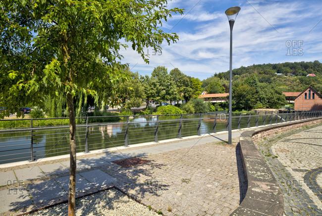 Pedestrian bridge, Fulda, river, Hann. Menden, Lower Saxony, Germany, Europe