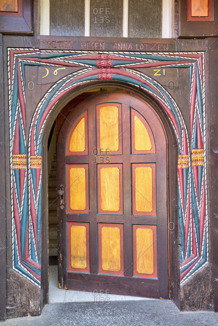 July 26, 2018: Old door, front door, door, half-timbering, old town, Hann. Menden, Lower Saxony, Germany, Europe