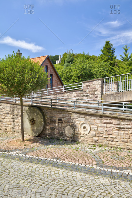Pedestrian bridge, Fulda, river, Tillyschanze, observation tower, Hann. Menden, Lower Saxony, Germany, Europe