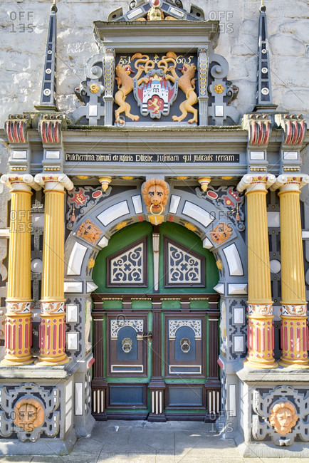 July 26, 2018: House facade, town hall, Weser Renaissance, front side, old town, Hann. Menden, Lower Saxony, Germany, Europe