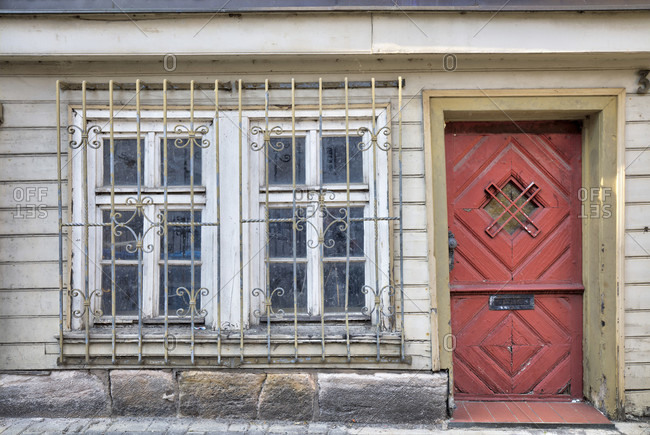 Front door, house facade, window, half-timbering, old town, Hann. Menden, Lower Saxony, Germany, Europe