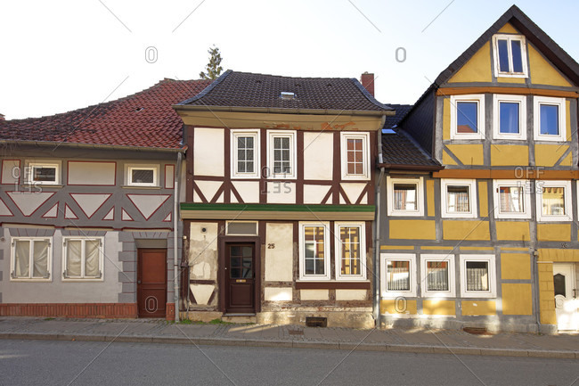Half-timbered facade, city tour, Koenigslutter am Elm, Lower Saxony, Germany, Europe