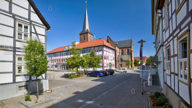 July 16, 2018: Town hall, market square, St. Marien, parish church, Lugged, North Rhine-Westphalia, Germany, Europe