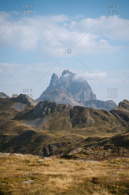 Big rugged mountain in Pyrenees on a sunny day