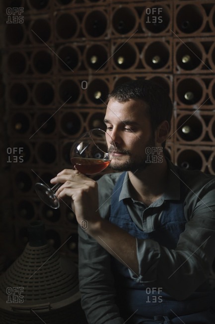Young man looking at wine in glass during tasting
