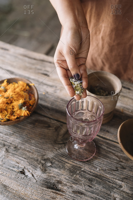 Hand of woman pouring fresh flowers and herbs in tea glass on wooden table