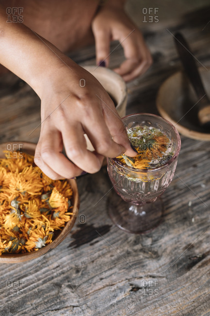 Hand of woman preparing fresh herbal tea with flower in glass on wooden table