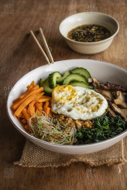 Bowl of Korean bibimbap - Offset