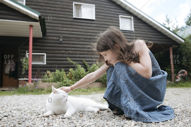 Little girl stroking cat in front yard of house