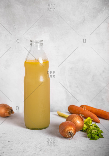 Carrots- onions- celery and bottle of vegetable broth