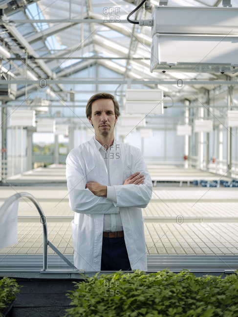 Portrait of a confident scientist in a greenhouse