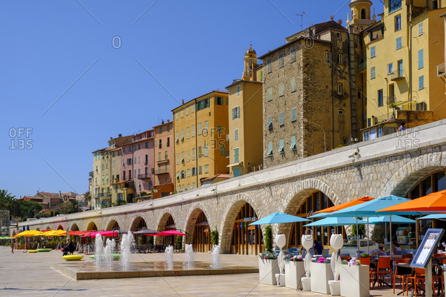 June 29, 2020: France- Provence-Alpes-Cote dAzur- Menton- Promenade of coastal town in summer