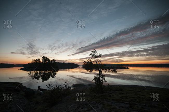 Coastal landscape of Bergholmarna island at dawn