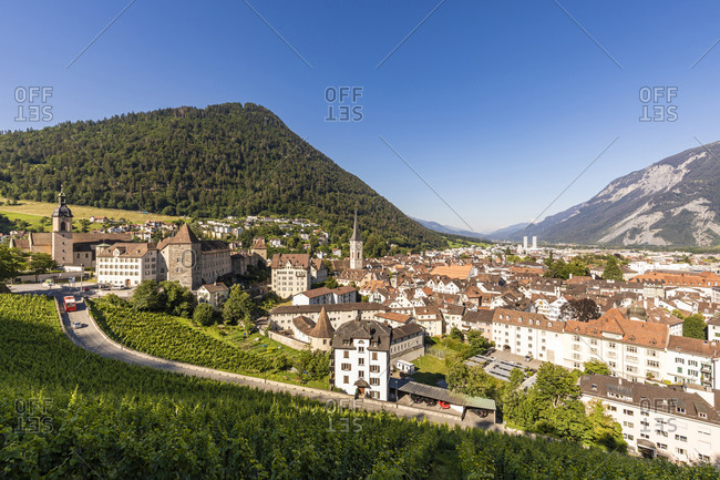 Switzerland- Canton of Grisons- Chur- Old town in Eastern Alps during summer