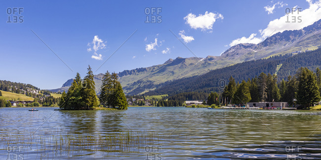 Panorama of Heidsee lake on sunny summer day