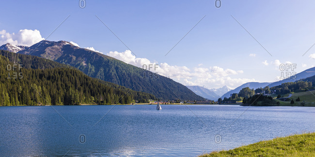 Panorama of Lake Davos on sunny summer day
