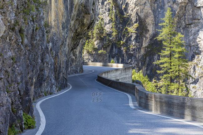 Switzerland- Canton of Grisons- Winding Albula Pass road