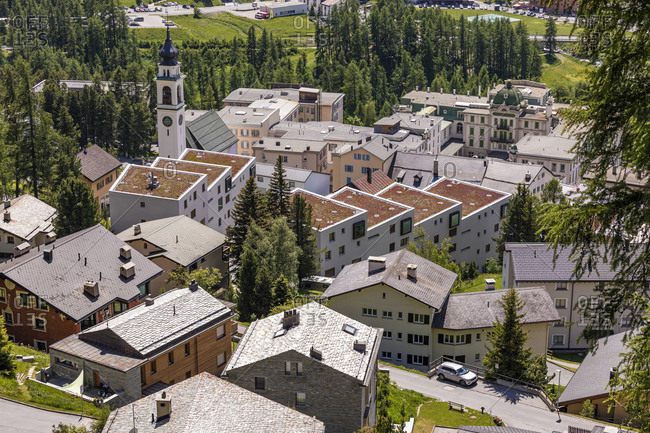 Switzerland- Canton of Grisons- Pontresina- Houses of alpine town in summer