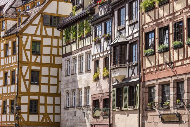 Germany- Bavaria- Nuremberg- Half-timbered medieval town houses