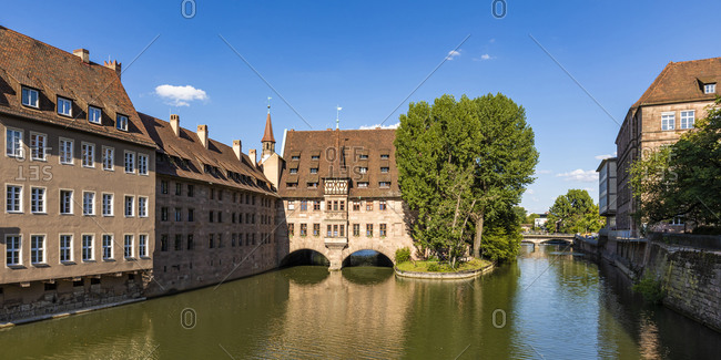 July 20, 2020: Germany- Bavaria- Nuremberg- Panorama of river Pegnitz and Holy Spirit Hospital