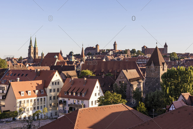 Germany- Bavaria- Nuremberg- Clear sky over historical old town at dusk