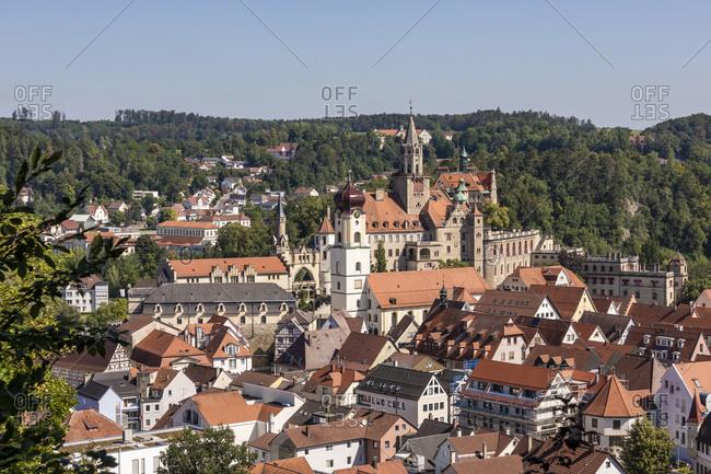 Germany- Baden-Wurttemberg- Sigmaringen- Town houses surrounding Sigmaringen Castle