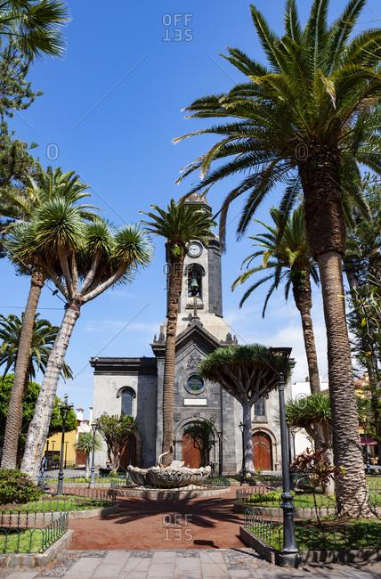 March 26, 2019: Spain- Canary Islands- Puerto de la Cruz- Church of Nuestra Senora de la Pena de Francia in summer