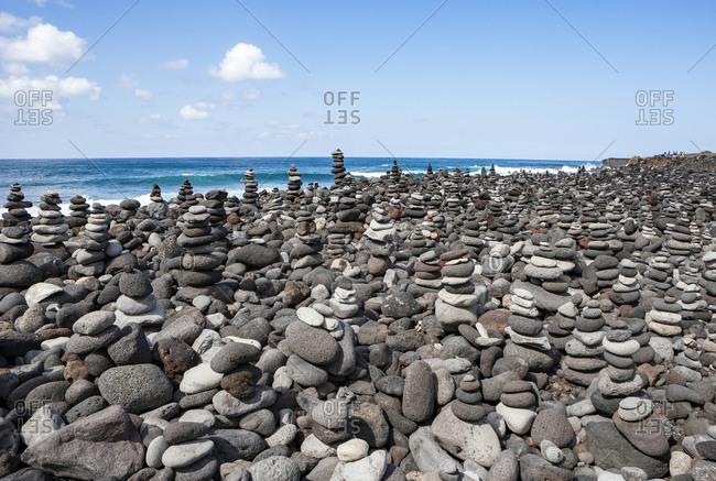 Stacked rocks at Playa del Castillo