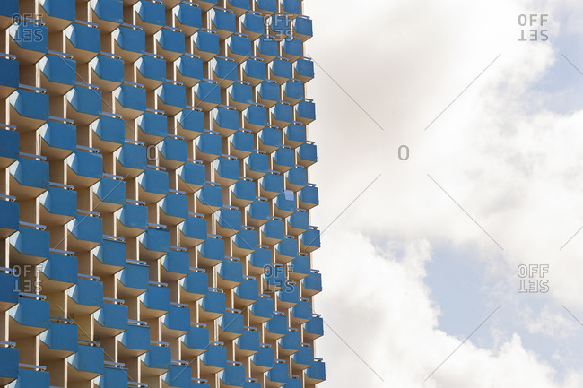 Balconies of high rise hotel