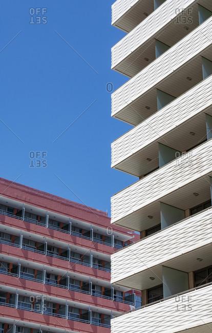 Balconies of modern high rise hotels