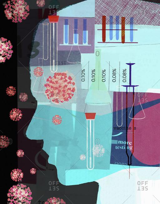 Illusttration depicting a oronavirus test