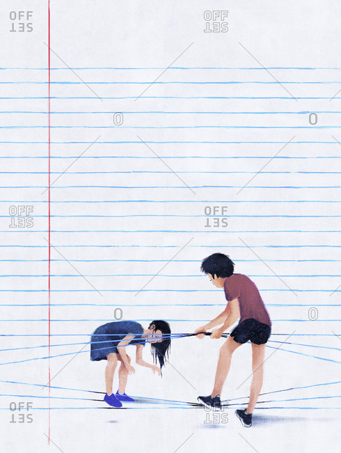 Boy helping girl get out of exercise book page