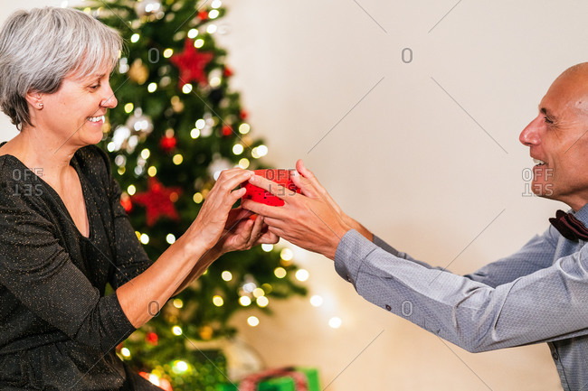 Side view of cheerful mature man giving present in box for loving woman on background of Christmas tree during party at home