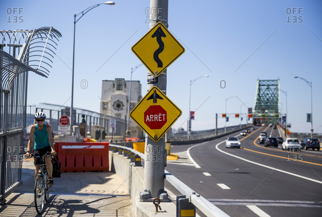 Quebec - August 16, 2020: Road signs on the Jacques Cartier Bridge in Montreal, Canada