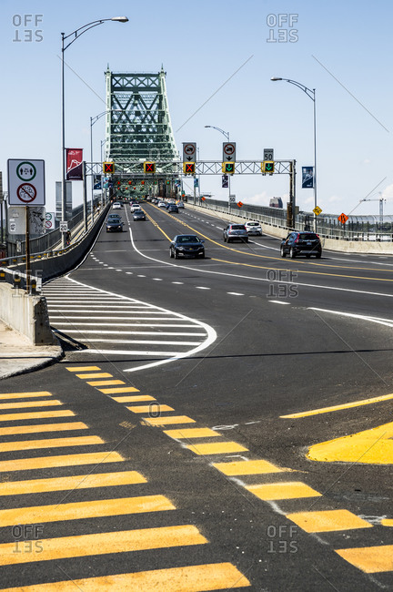 Quebec - August 16, 2020: Traffic on the Jacques Cartier Bridge in Montreal, Quebec, Canada
