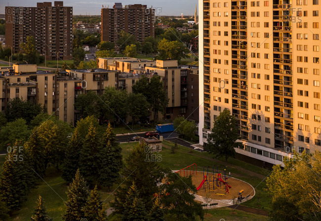Quebec - July 31, 2020: Dramatic sunset light over condominiums in Longueuil, QC, Canada